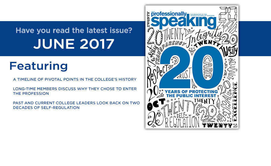 a promotional banner for professionally speaking june 2017